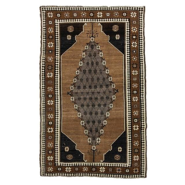 Vintage Brown & Black Turkish Kars Rug- 5′8″ × 8′10″ For Sale