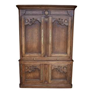Late 20th Century Ornately Carved Solid Oak Armoire For Sale
