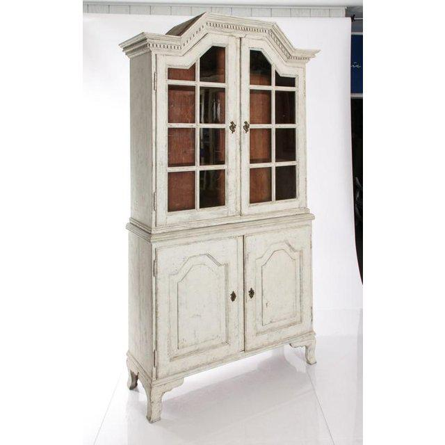 Neoclassical Antique White Gustavian Style Vitrine With Glass Panel Doors For Sale - Image 3 of 11