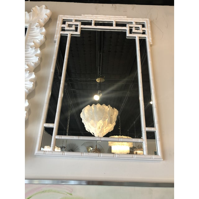 Vintage Palm Beach White Lacquered Greek Key Faux Bamboo Wall Mirror For Sale In West Palm - Image 6 of 11