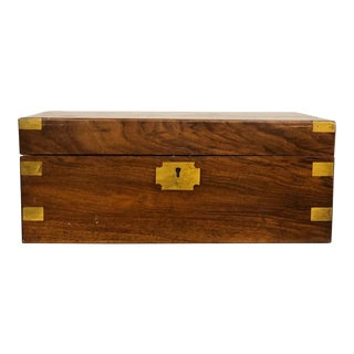 1900s Campaign Rosewood Brass Lap Desk/Box For Sale