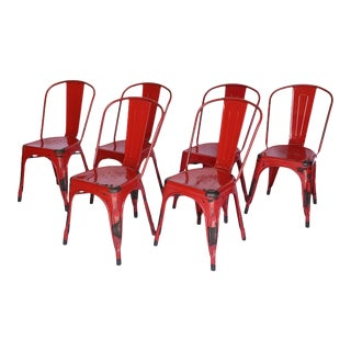 Set of Six Metal Tolix Chairs For Sale