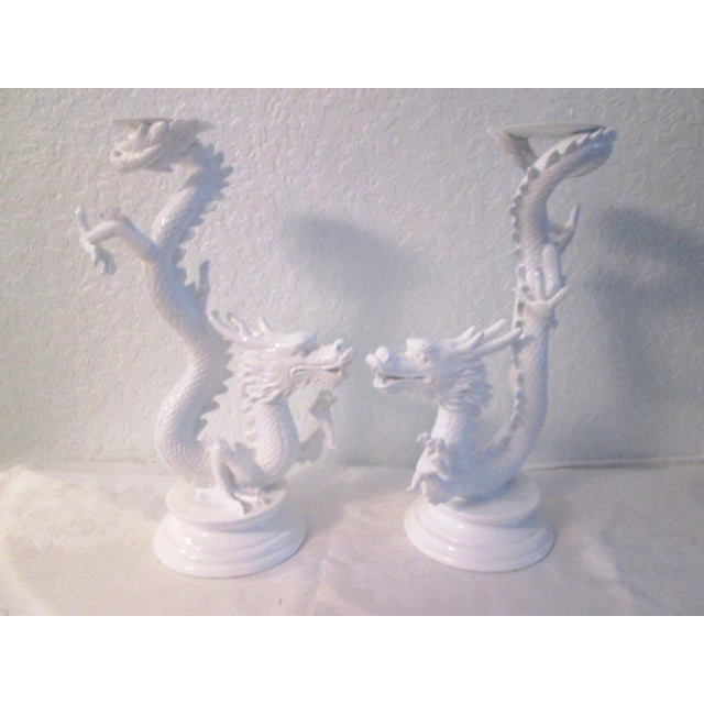 White Dragon Pillar Candle Holders - A Pair - Image 2 of 9