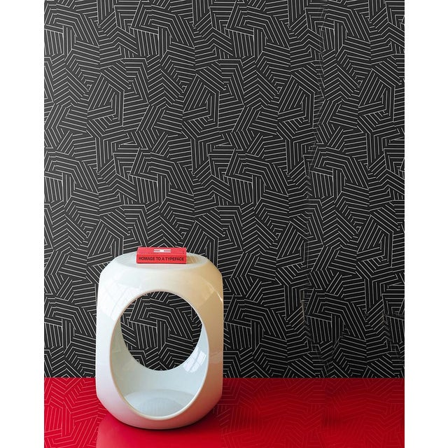 2010s Schumacher Deconstructed Stripe Geometric Wallpaper in Ivory on Black - 2-Roll Set (9 Yards) For Sale - Image 5 of 5