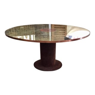 Copper Trimmed Round Center Table For Sale