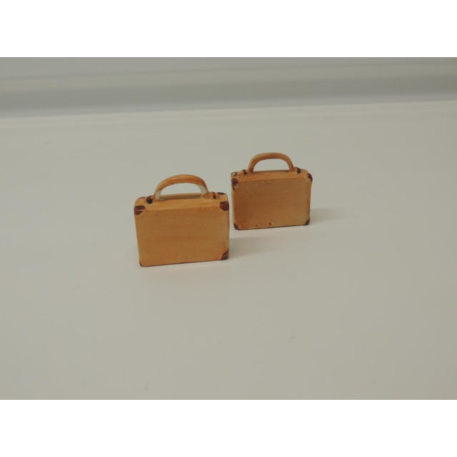 1980s Pair of Orange and Brown Bisque Porcelain Trendy Handbags Salt and Pepper Shakers For Sale - Image 5 of 5