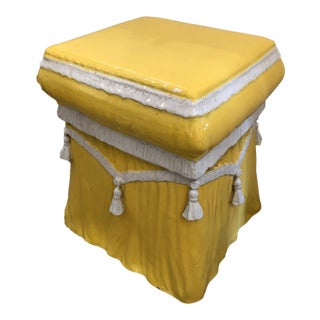 1950's Vintage Stylish Ceramic Italian Sunny Yellow End Table For Sale
