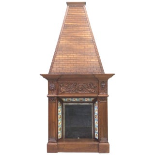 19th Century Fireplace Chimney in Walnut For Sale