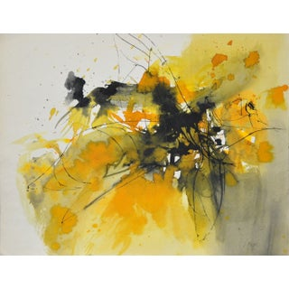 Irma Magid Vintage Yellow Abstract Watercolor