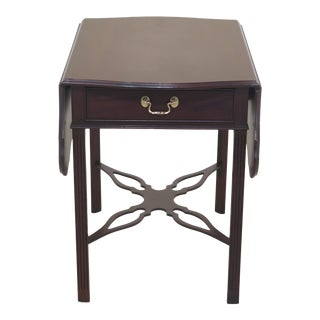 1990s Vintage Councill Craftsmen Chippendale Mahogany Pembroke Table For Sale