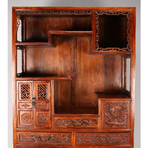 Carved Chinese Huanghuali Dragon Cabinet - Image 3 of 11