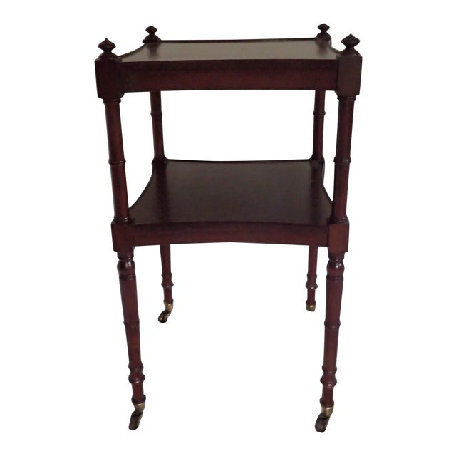 Baker Tea Cart Faux-Bamboo Mid-Century Modern Style C.1980's Mahogany Excellent - Image 1 of 5