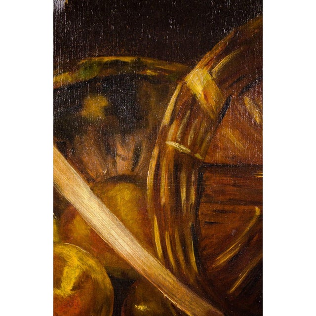 Wood Early 20th Century Antique Fruit Basket Still Life Oil on Canvas Painting For Sale - Image 7 of 13