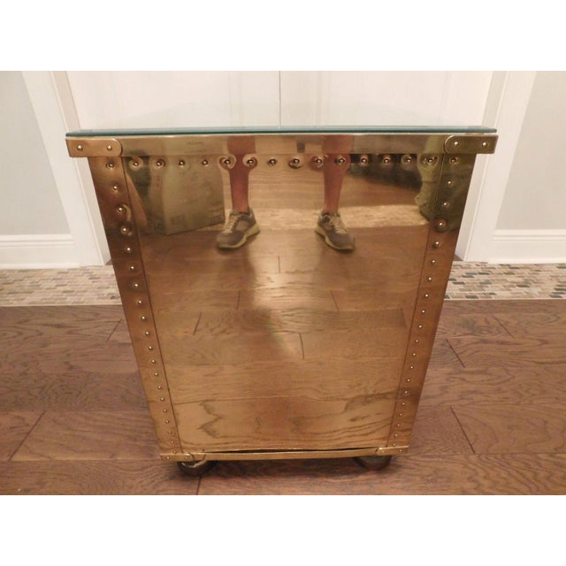 Serreid LTD Vintage Brass Nightstand - Image 6 of 11