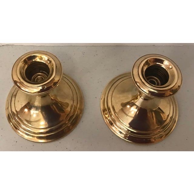 Gorham Mid 20th Century Gorham Brass Weighted Candle Holders - a Pair For Sale - Image 4 of 7