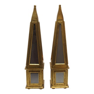 Florentine Italian 1960s Obelisks Mirror and Gilt With Secret Nooks - a Pair For Sale