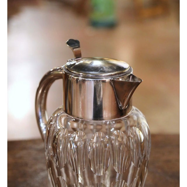 Mid 20th Century Midcentury French Cut-Glass and Silvered Brass Pitcher With Ice Holder Insert For Sale - Image 5 of 10