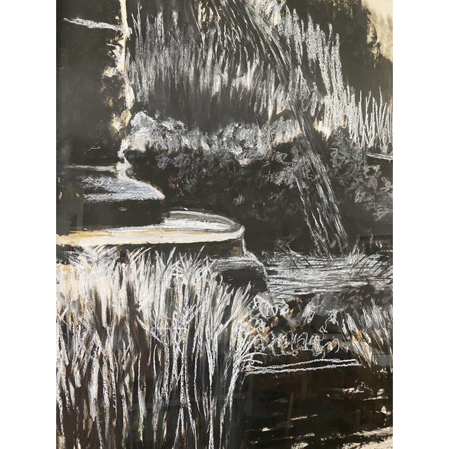 1990s Oversize Black & White Abstract Landscape Painting, Signed & Framed For Sale - Image 5 of 8