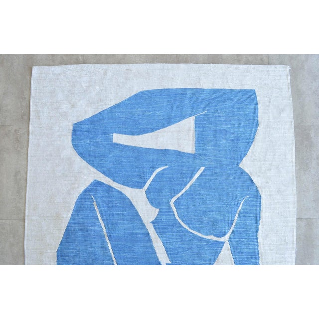 Silk Henri Matisse - Blue Nude 3 - Inspired Silk Hand Woven Flat Weave Area - Wall Rug 4′8″ × 6′10″ For Sale - Image 7 of 12
