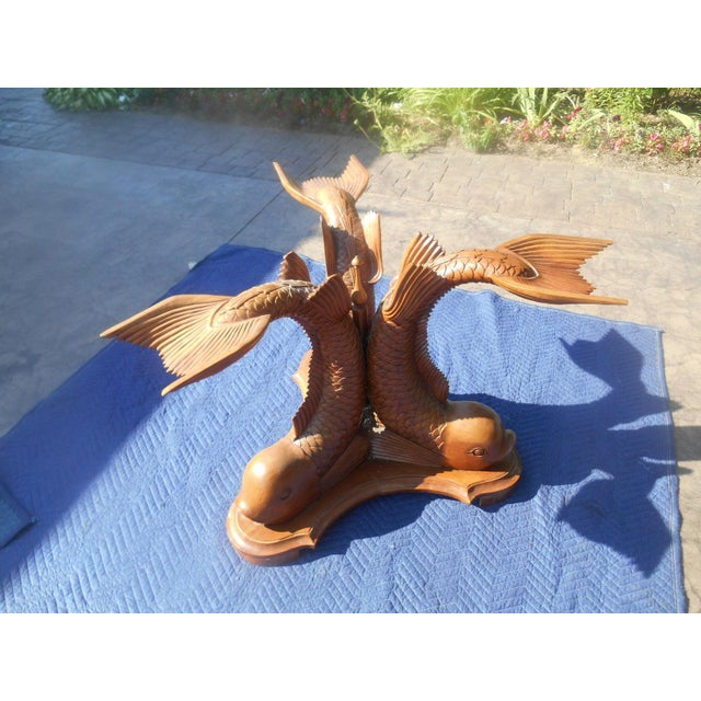 Vintage Hand-Carved Triple Dolphin Serpent Center Table For Sale - Image 4 of 10