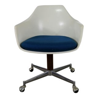 Mid Century Modern Burke Inc. Fiberglass Shell Office Desk Arm Chair Rolling Swivel Tilt For Sale