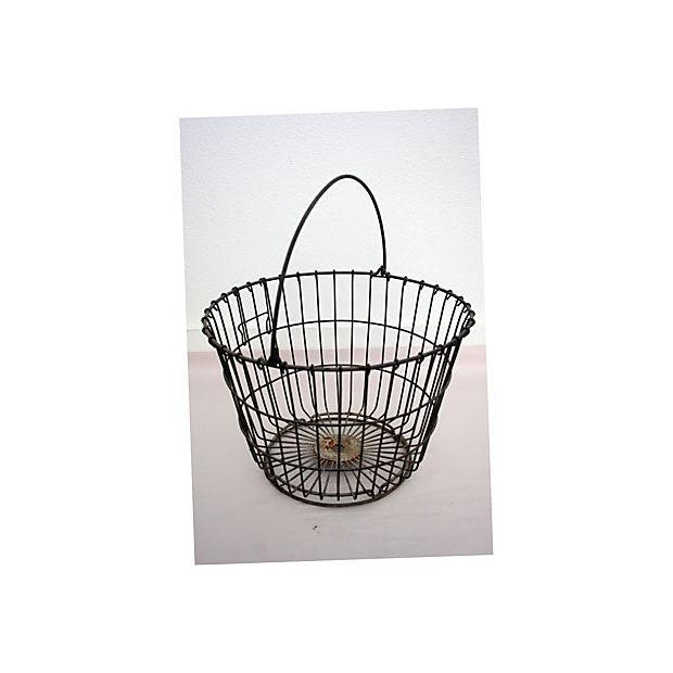 Vintage Round Wire Handle Basket - Image 2 of 4
