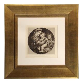 """Antique 1887 """"Madonna Della Sedia"""" From Masterpieces of Italian Engraving Print in Frame For Sale"""