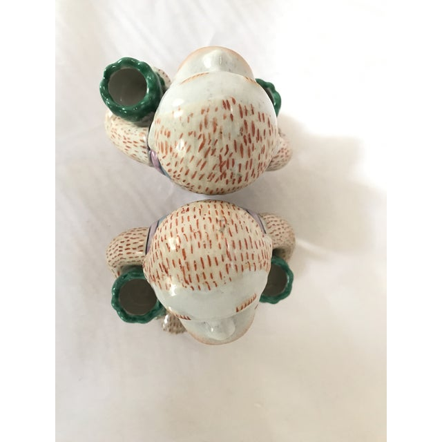 Vintage Chinese Ceramic Monkey Gardener Seated - a Pair For Sale - Image 9 of 11