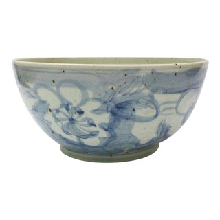 Large Blue & White Chinoiserie Watercolor Flower Bowl For Sale