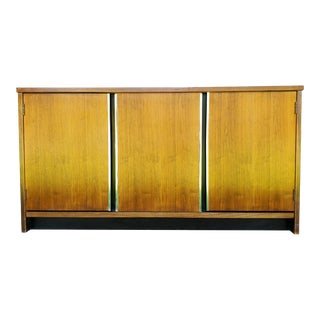 1970s Mid-Century Modern Walnut Credenza with Chrome Detail For Sale