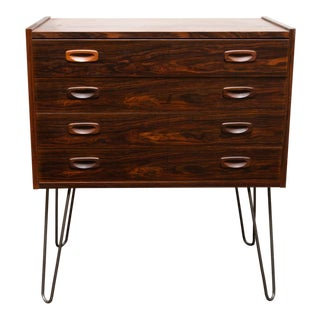 Danish Modern Rosewood Chest on Hairpin Legs For Sale