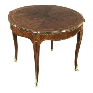 19th Century French Louis XV Marquetry Center Table With Bronze For Sale