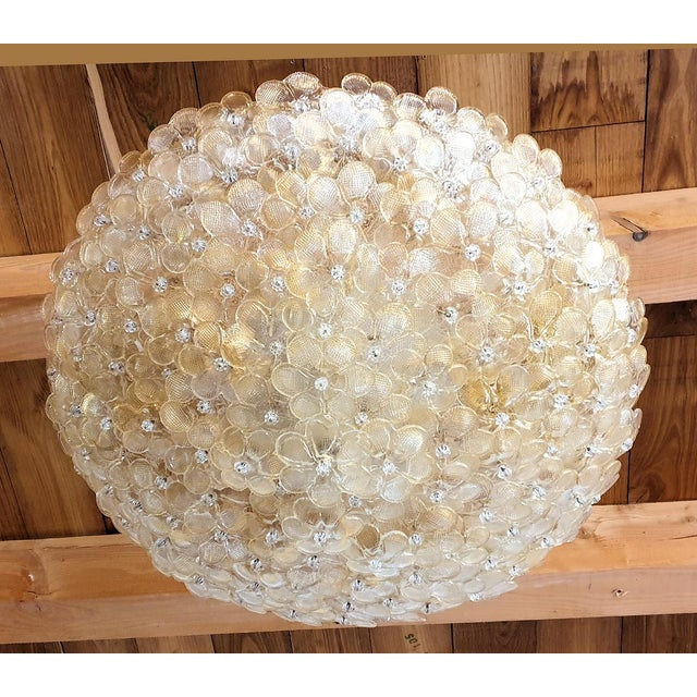 Large round Mid Century Modern Murano glass flower chandelier, or flush mount ceiling light, by Barovier & Toso, Italy...
