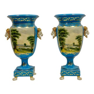 Pair of Large Blue & White Old Paris Style Porcelain Urn Form Vases For Sale