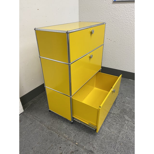 2010s Usm Fritz Haller Yellow Filing Cabinet For Sale - Image 5 of 11