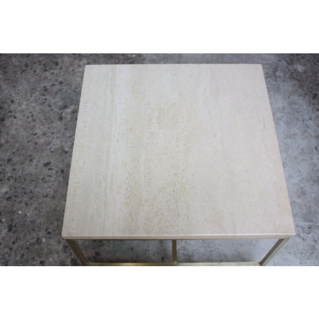 Gold Paul McCobb Travertine and Brass Occasional Tables For Sale - Image 8 of 13