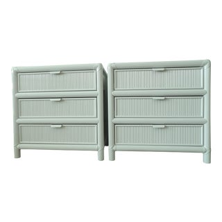 Vintage Pencil Reed Rattan 3 Drawer Nightstands - a Pair For Sale