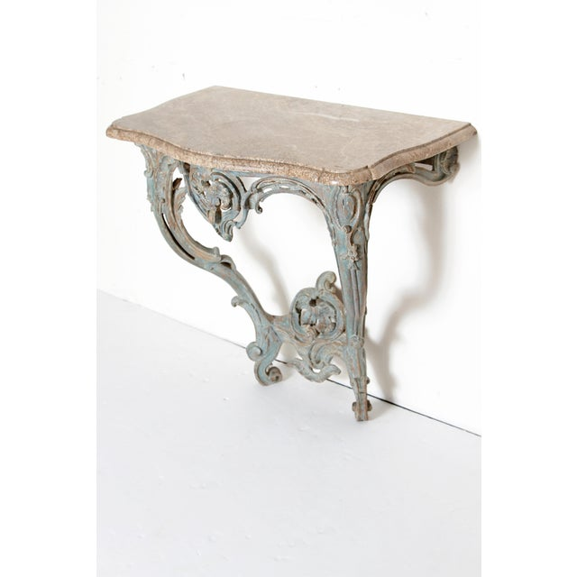 French Period Painted Louis XV Console With Shaped Marble Top For Sale - Image 3 of 13