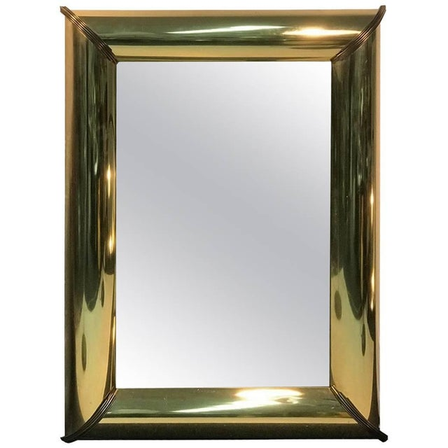 1970s Mirror With Brass Trim and Bold Moldings in the Style of Mastercraft For Sale - Image 5 of 5