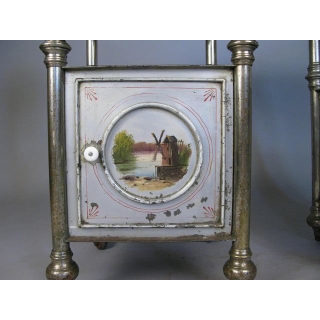 Late 19th Century 19th Century Painted Steel Nightstands - a Pair For Sale - Image 5 of 9
