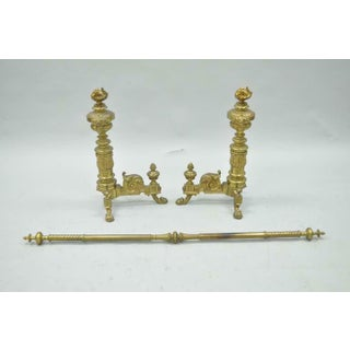 Pair of 19th C. French Empire Neoclassical Flame & Lion Brass Paw Andirons & Bar Preview