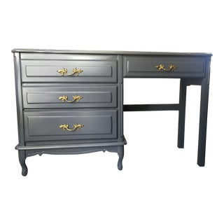 Vintage Gray Petite Country French Desk For Sale