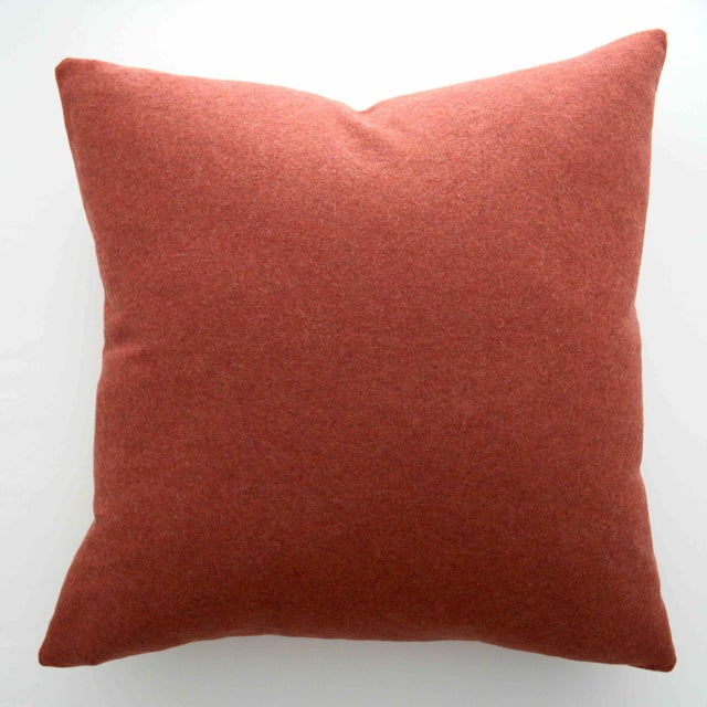 Orange FirmaMenta Italian Solid Orange Sustainable Wool Pillow For Sale - Image 8 of 8