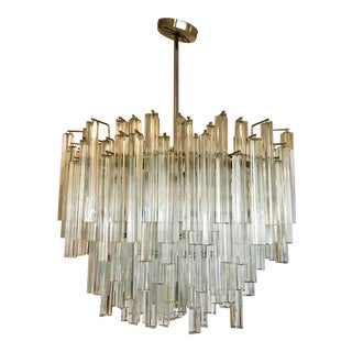 1970s Signed Camer Glass Mid-Century Venini Waterfall Chandelier For Sale
