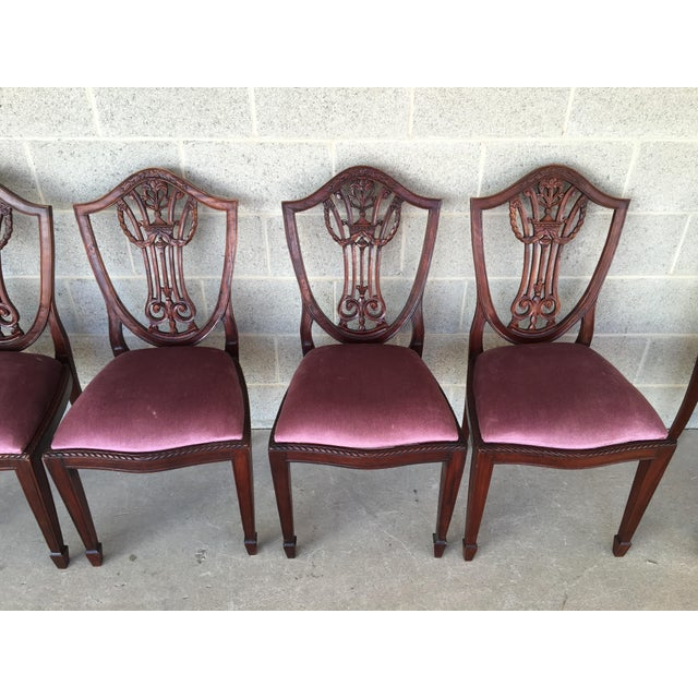 Antique Mahogany Shield Back Hand Carved Dining Chairs - Set of 8 - Image 3  of - Antique Mahogany Shield Back Hand Carved Dining Chairs - Set Of 8