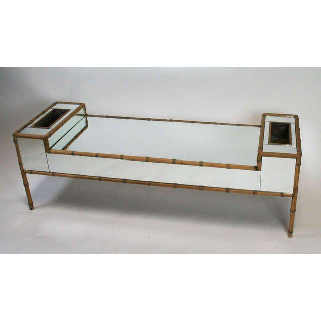 Early 20th Century Hollywood Regency Faux Bamboo Mirrored Coffee Table For Sale - Image 5 of 6
