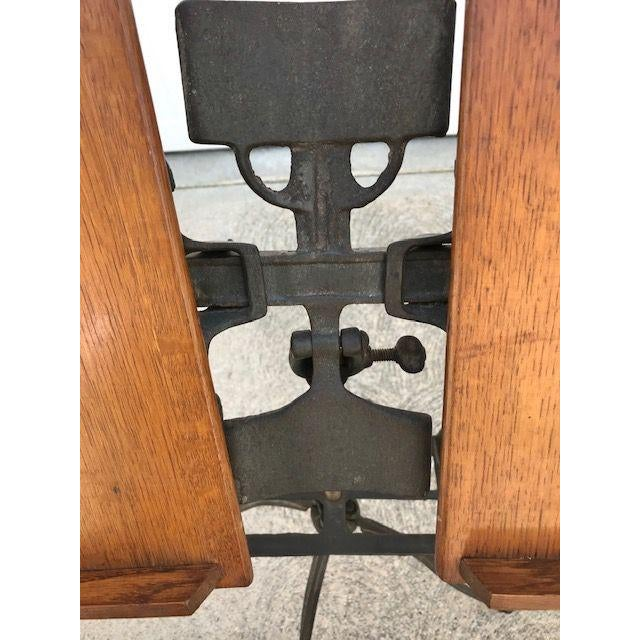 Industrial Antique Industrial Oak and Cast Iron Dictionary Stand For Sale - Image 3 of 6