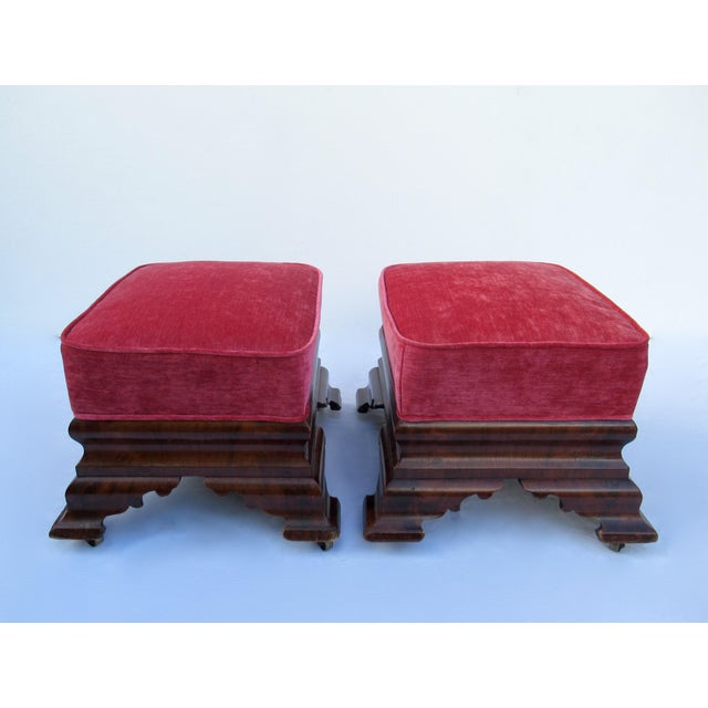 Metal C.1840s-90s, Vintage Joseph Meeks & Sons Mahogany Ottomans - a Pair For Sale - Image 7 of 13