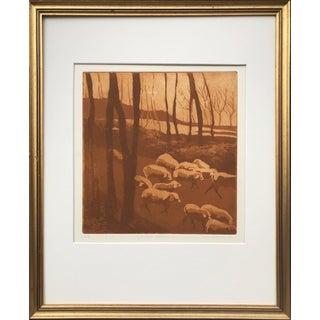 Vintage Etching of Sheep by Leslie Wayne For Sale