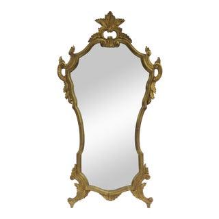 Vintage Italian Venetian Hollywood Regency Era Gilt Gold Leaf Carved Mirror For Sale